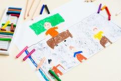 Pastellfärgad teckning av läraren i skolagrupp Arkivfoto