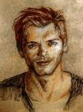 Pastellfärgad teckning illustration Stående av en ung man Royaltyfria Bilder