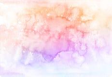 Pastellfärgad vattenfärgbakgrund för abstrakt regnbåge stock illustrationer
