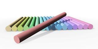 Pastellfärgade chalks i rad Arkivfoton