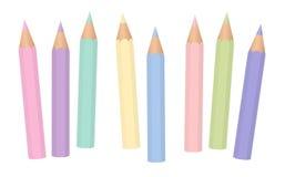 Pastellfärgade färger behandla som ett barn färgpennablyertspennor Royaltyfri Fotografi