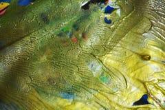 Pastellfärgade guld- gräsplanblått målar guld- färger för den violetta vattenfärgen, abstrakt bakgrund Fotografering för Bildbyråer
