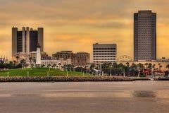 Pastellfärgade himlar över Long Beach Arkivfoto