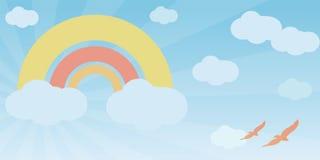 pastellfärgade regnbågekupor Stock Illustrationer
