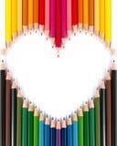 pastellfärgad blyertspennaform för färgrik hjärta Royaltyfri Bild