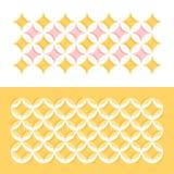 Pastellfarbgeometrisches Muster mit Kreisen und Sternen Stockfotos