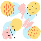 Pastellhintergrund mit Handgezogenen Beschaffenheiten, Memphis-Art Stilvolles Vektordesign für Gewebe, Tapete, wickelnd ein lizenzfreie abbildung