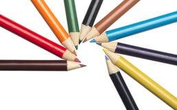 Pastelli colorati su bianco Fotografia Stock