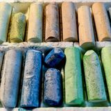 Pastelli d'annata dell'olio Fotografie Stock