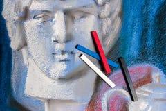 Pastelli e disegno pastello originale della natura morta Fotografie Stock Libere da Diritti