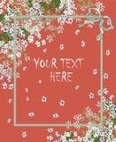 Pastellkarte des roten Grußes mit dem Rahmen für Text Lizenzfreies Stockbild