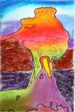 Pastello e acquerello astratti Immagine Stock