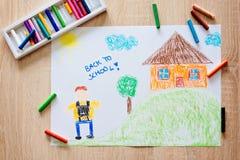 Pastellzeichnung Childs des Jungen gehend zur Schule Lizenzfreie Stockfotos