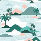 Pastelowa i słodka sylwetka drzewko palmowe, plaża, góra na trybie ilustracji