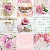 Pastelowego koloru kolaż z miłość symbolami zdjęcie royalty free