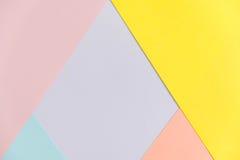 Pastelowego koloru papieru tekstury tło Abstrakcjonistyczny geometryczny papierowy tło trendów kolory Kolorowy miękka część papie Obraz Royalty Free