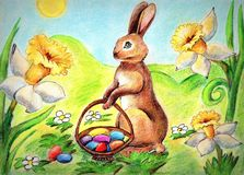 Pastelowego rysunku Wielkanocny królik obraz stock