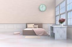 Pastelowy łóżkowy pokoju 3d rendering royalty ilustracja