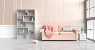 Pastelowy żywy pokój ilustracja wektor