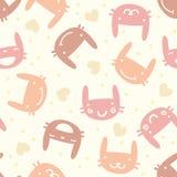 Pastelowy bezszwowy wzór z ślicznym królikiem Zdjęcie Stock