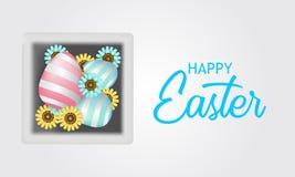 Pastelowy 3D jajko na pudełku z kwiatu okwitnięciem dla Easter prezenta teraźniejszości ilustracji