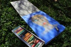 Pastelowy obraz, dziewczyny twarz, obraz na trawie ilustracja wektor