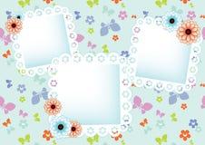 Pastelowy tło z koronkowymi ramami Zdjęcia Royalty Free