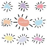 Pastelowych kolorów dziewięć słońca wybuch i przypadkowy kształt odosobneni na bielu, Fotografia Stock