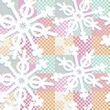 Pastelowych kolorów patchwork z geometrycznymi płatkami śniegu royalty ilustracja