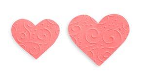 Pastelowych menchii wzorzystości papieru serca odizolowywający na białym tle, valentine Zdjęcia Stock