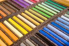 Pastels. Soft pastels in black box Royalty Free Stock Image