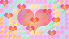 Pastels plats de coeurs de Yin Yang Photos stock