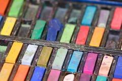 Pastels utilisés assortis Photographie stock