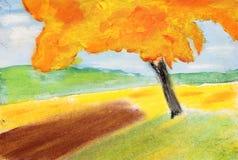 Pastelu i aquarel obraz jesieni drzewo Fotografia Royalty Free