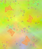 Paster Background. A computer genereated pastel illustration  of butterflies on a varagated pastel background Stock Image