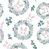 Paster cute Easter background with eggs in nest royalty free illustration