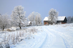 Pasterka village in snow – winter in Poland Stock Photo