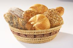 Pastery - Gebaeck. Basket full with Pasteries on white background Stock Images