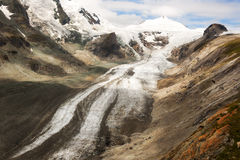 Pasterze Glacier near the Grossglockner, Austria. The Pasterze glacier lies at the base of Austria's tallest mountain, the Grossglockner.  The Pasterze is the Royalty Free Stock Photo
