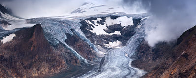 Pasterzegletsjer en sneeuw in hoge alpiene bergen Royalty-vrije Stock Fotografie