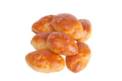 Pastetchen mit dem Fleisch, Kohl oder Pilzen lokalisiert auf weißem Hintergrund stockfotografie