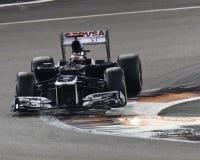 Pasteur Maldonaldo effectuant un virage le véhicule 2012 de Williams F1 photos libres de droits