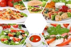 Pasti del pasto del collage della raccolta del menu del ristorante dell'alimento Fotografia Stock Libera da Diritti