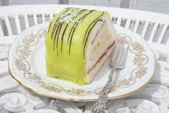 Pasticceria con marzapane e crema verdi Fotografia Stock
