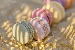 Pasticcerie francesi aerate dolci deliziose Dessert dei macarons nella sera di estate nel frutteto Priorit? bassa vaga naturale fotografie stock libere da diritti