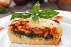 Pasticcio with chard and tomato sauce Royalty Free Stock Photos