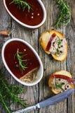 Pasticcio di fegato del pollo con la gelatina del vino rosso Immagini Stock Libere da Diritti
