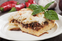 Pasticcio with ground beef and bechamel sauce Stock Photography