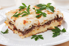 Pasticcio with ground beef and bechamel sauce Royalty Free Stock Photo