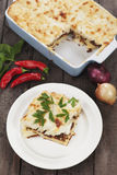 Pasticcio with ground beef and bechamel sauce Stock Photos